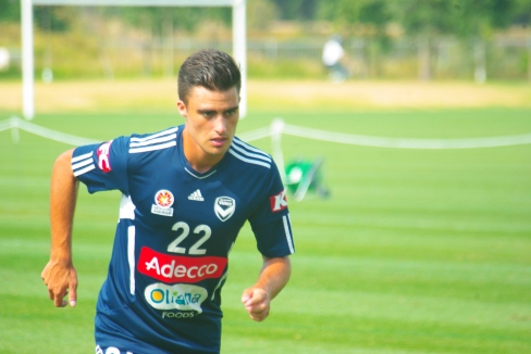 Ex-Glory attacker Jesse Makarounas in action this morning. PHOTO: Jim Webster